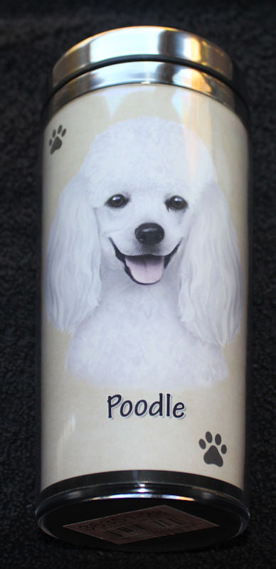 Poodle White Stainless Steel Travel Tumbler
