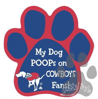 My Dog Poops On Cowboys Fans Giants vs Cowboys Football Dog Paw Magnet