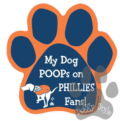 My Dog Poops On Phillies Fans Mets vs Phillies Baseball Dog Paw Magnet