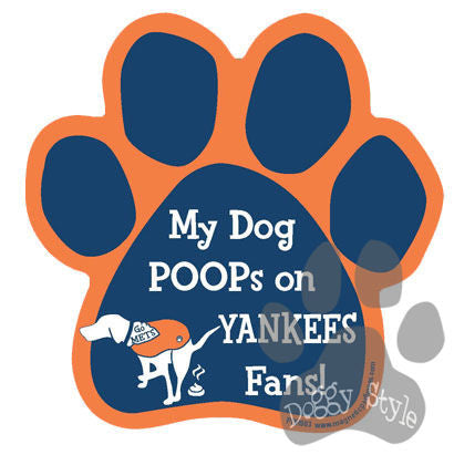 My Dog Poops On Yankees Fans Mets vs Yankees Baseball Dog Paw Magnet
