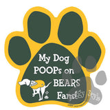 My Dog Poops on Bears Fans Packers vs Bears Football Paw Magnet