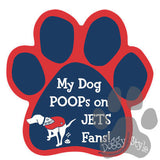 My Dog Poops On Jets Fans Patriots vs Jets Football Dog Paw Magnet