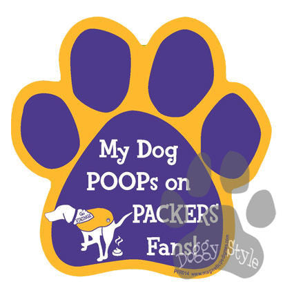 My Dog Poops On Packers Fans Vikings vs Packers Dog Paw Magnet