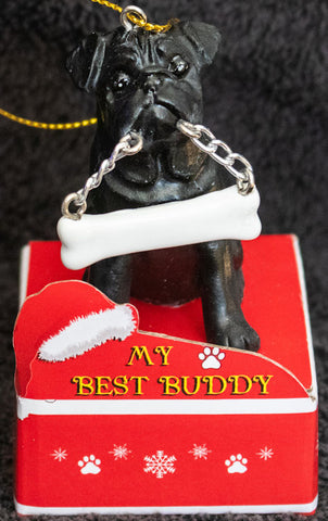 Pug Black Statue Best Buddy Christmas Ornament