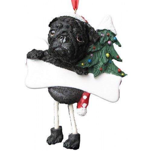 Dangling Leg Pug Black Dog Christmas Ornament