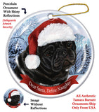 Pug Black Howliday Dog Christmas Ornament