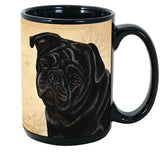 Faithful Friends Pug Black Dog Breed Coffee Mug