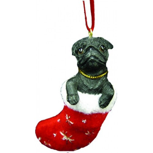 Santa's Little Pals Black Pug Christmas Ornament