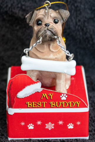 Pug Fawn Statue Best Buddy Christmas Ornament