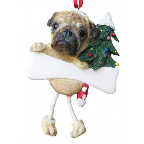 Dangling Leg Pug Fawn Christmas Ornament