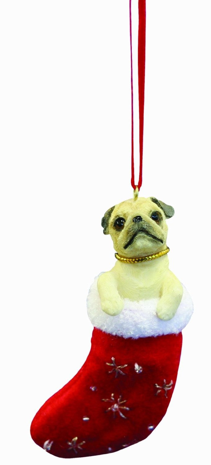 Santa's Little Pals Pug Fawn Christmas Ornament