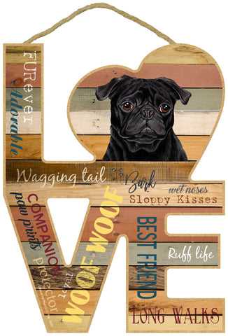 Pug Assorted Love Sign