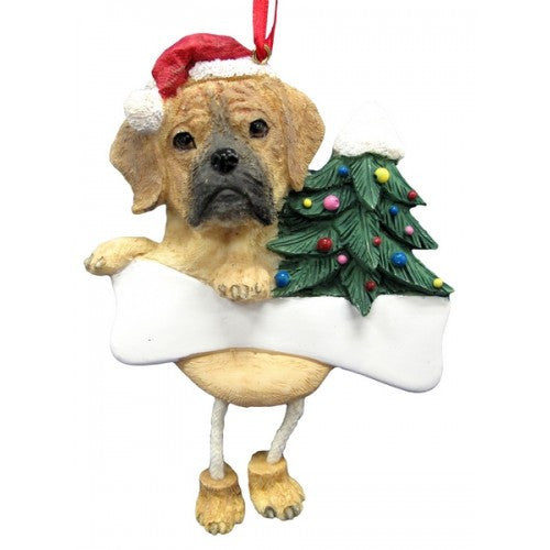 Dangling Leg Puggle Dog Christmas Ornament