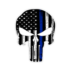 Punisher Skull Thin Blue Line Support Police Stressed Vinyl Car Sticker