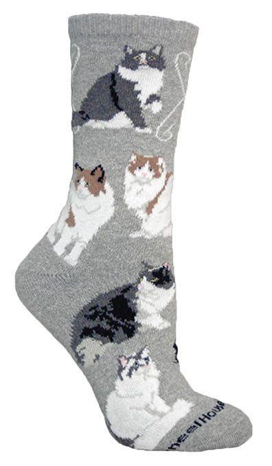 Ragamuffin Cat Dog Breed Novelty Socks Gray