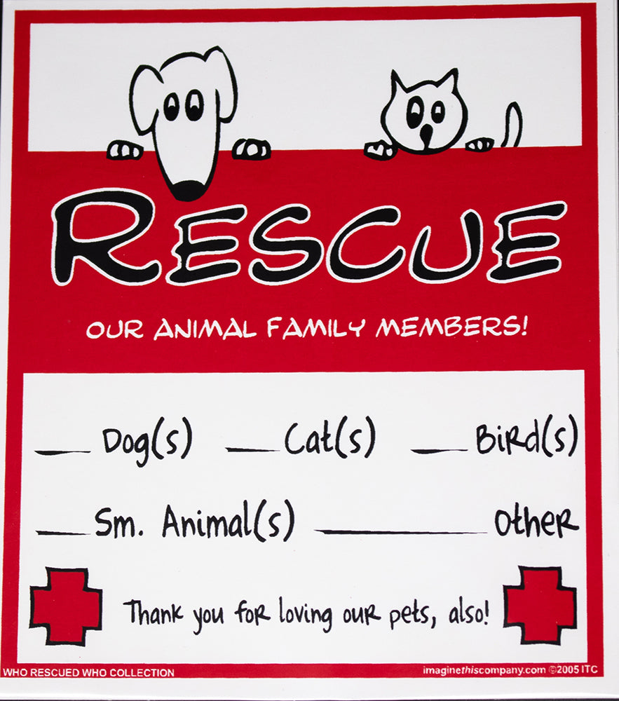 Rescue Our Family Members Emergency Services Alert Dog Window Decal