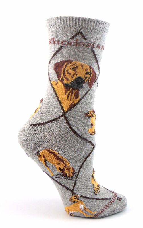 Rhodesian Ridgeback Dog Breed Novelty Socks Gray