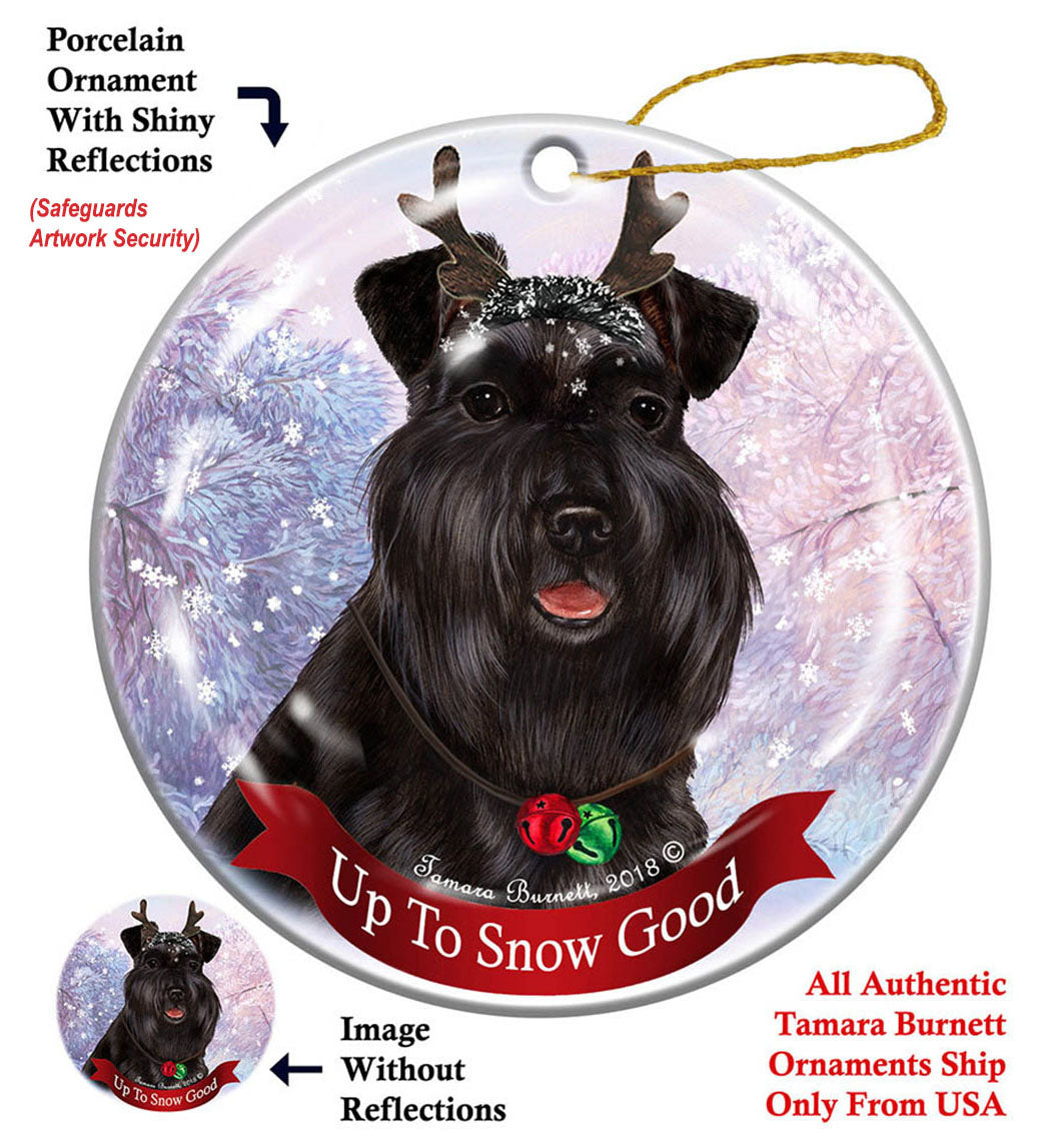 Schnauzer Black Uncropped Howliday Dog Christmas Ornament ...