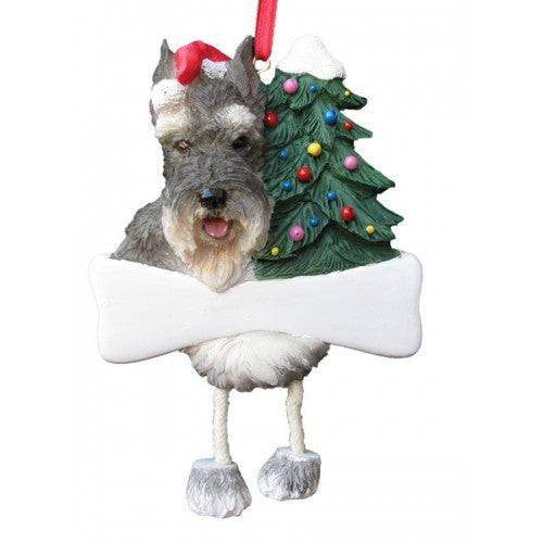 Dangling Leg Schnauzer Cropped Dog Christmas Ornament