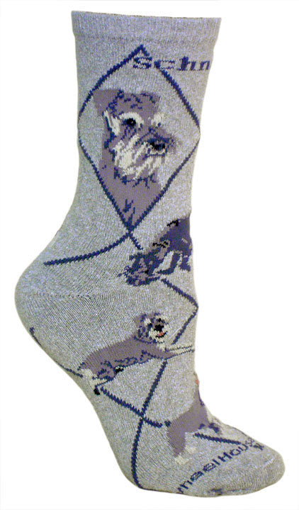 Schnauzer Dog Breed Gray Lightweight Stretch Cotton Adult Novelty Socks