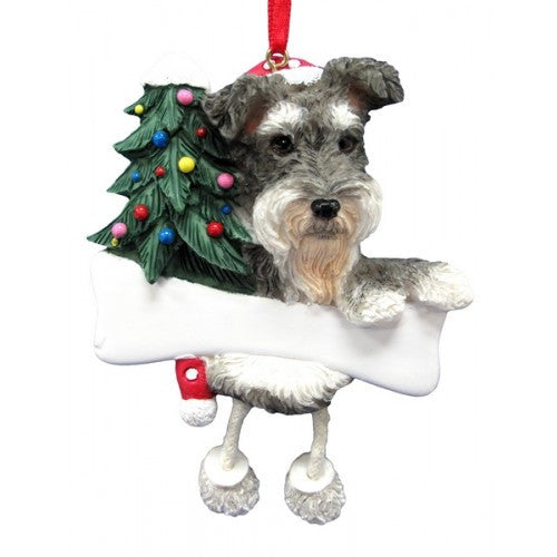 Dangling Leg Schnauzer Uncropped Dog Christmas Ornament