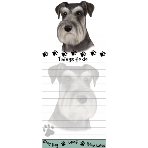 Schnauzer Uncropped List Stationery Notepad