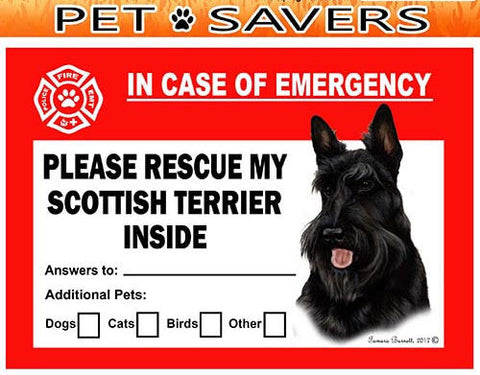 Scottish Terrier Dog Emergency Window Cling