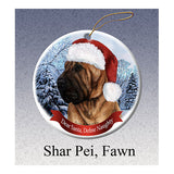 Shar Pei Fawn Howliday Dog Christmas Ornament
