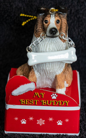 Sheltie Statue Best Buddy Christmas Ornament
