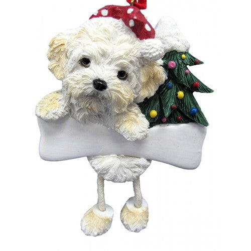 Dangling Leg Shih Poo Dog Christmas Ornament