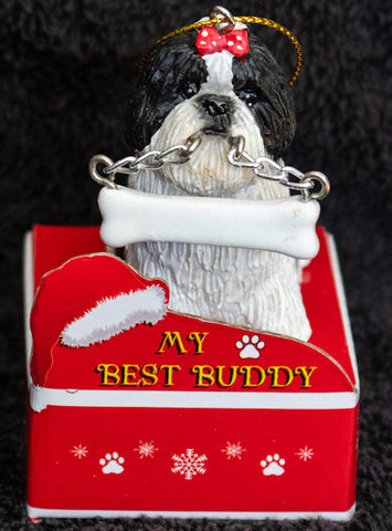 Shih Tzu Black Puppy Statue Best Buddy Christmas Ornament