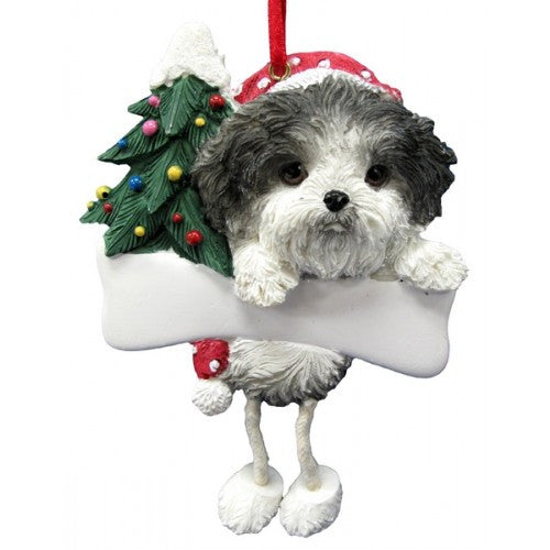 Dangling Leg Shih Tzu Black and White Puppy Dog Christmas Ornament