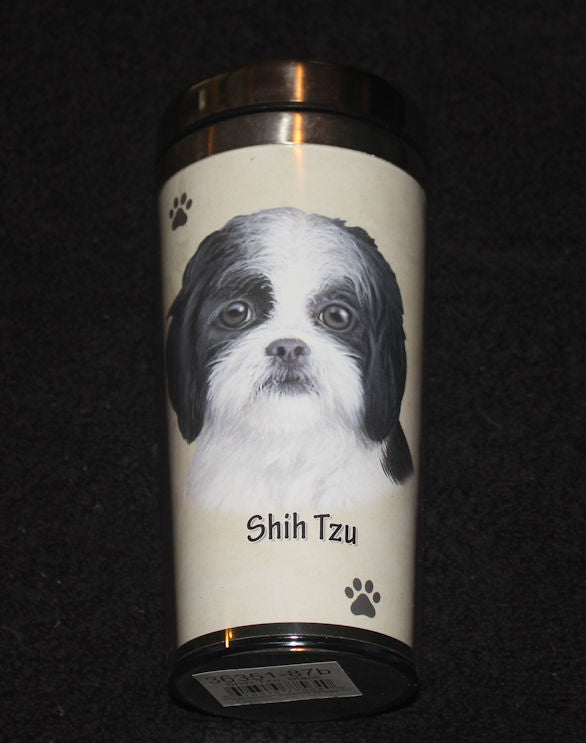 Shih Tzu Black Stainless Steel Travel Tumbler