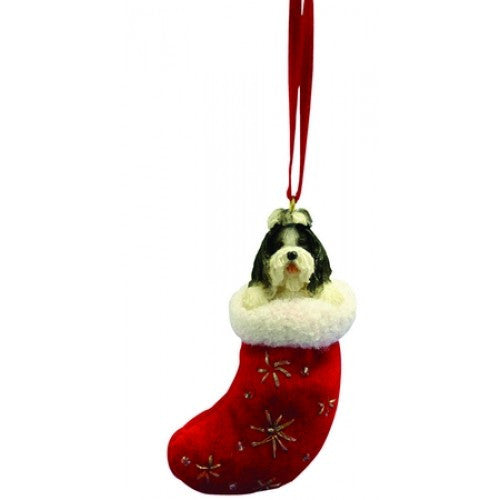 Santa's Little Pals Shih Tzu Black Dog Christmas Ornament
