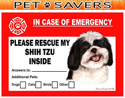 Shih Tzu Dog Emergency Window Cling
