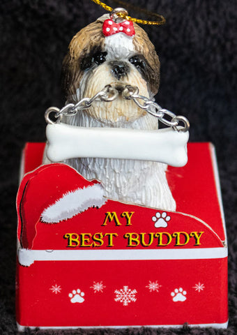 Shih Tzu Tan Puppy Statue Best Buddy Christmas Ornament