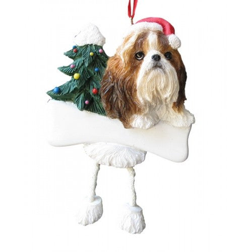 Dangling Leg Shih Tzu Tan and White Dog Christmas Ornament