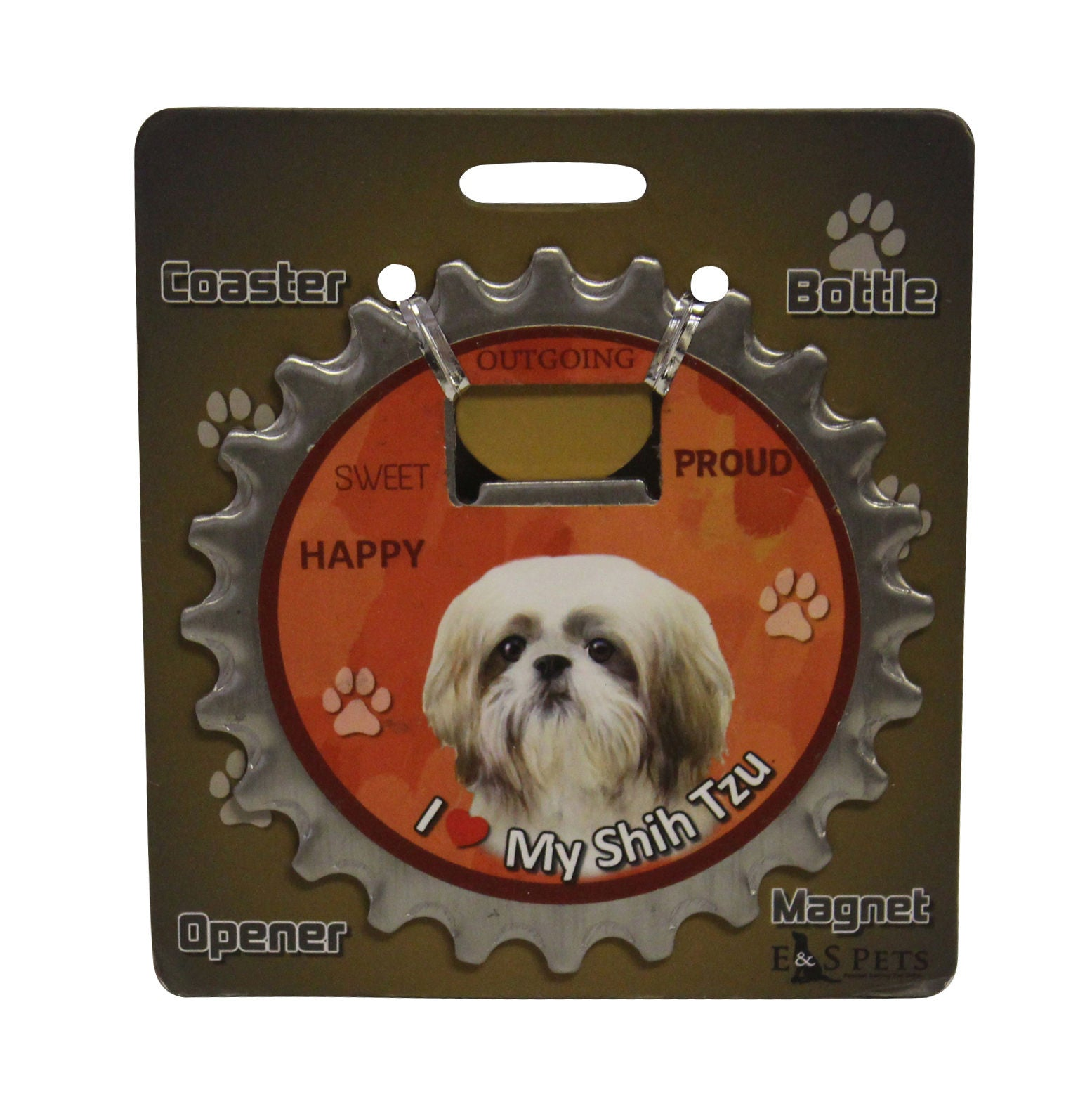 Shih Tzu Tan Puppy Dog Bottle Ninja Stainless Steel Opener Magnet
