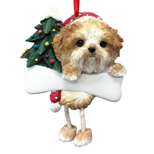 Dangling Leg Shih Tzu Tan and White Puppy Dog Christmas Ornament
