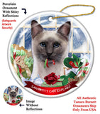 Siamese Blue Point Cat Howliday Cat Christmas Ornament