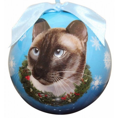 Siamese Cat Breed Shatterproof Christmas Ornament
