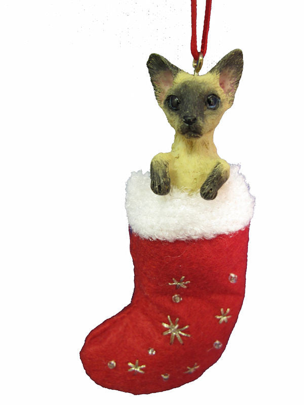Santa's Little Pals Siamese Cat Christmas Ornament