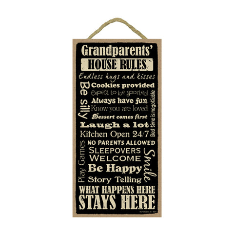 Words Of Wisdom Grandparents Rules Wood Sign