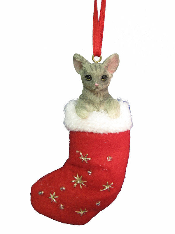 Santa's Little Pals Silver Tabby Cat Christmas Ornament