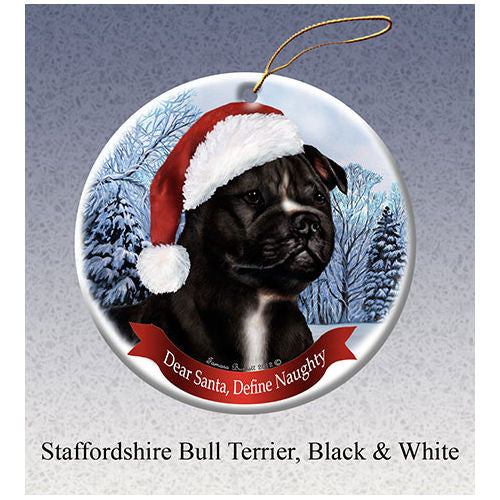 Staffordshire Bull Terrier Black Howliday Dog Christmas Ornament
