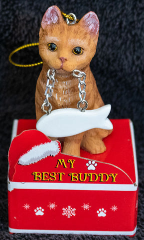 Tabby Orange Cat Statue Best Buddy Christmas Ornament