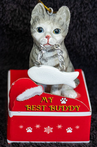 Tabby Silver Cat Statue Best Buddy Christmas Ornament