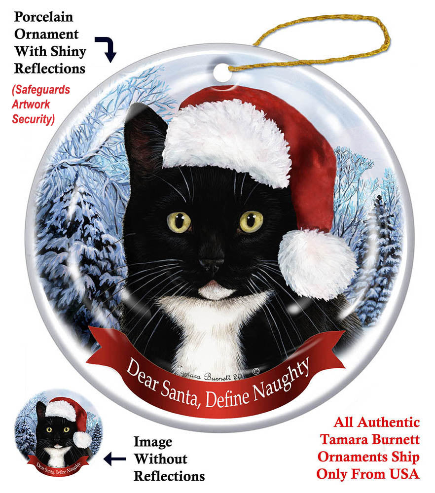 Black and White Tuxedo Cat Howliday Cat Christmas Ornament