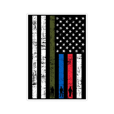Thin Line US American Flag Support Military Police Fire Stressed Vinyl Car Sticker