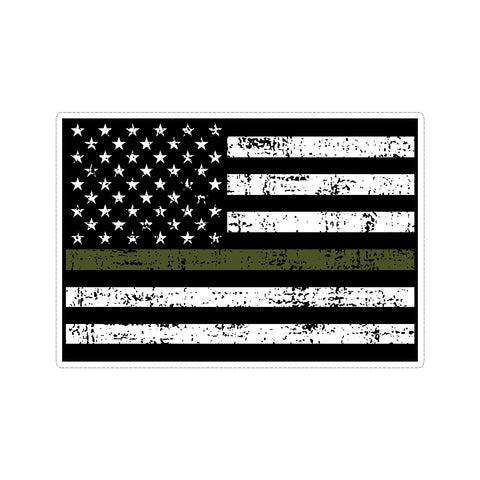 Thin Green Line US American Flag Support Military Stressed Vinyl Car Sticker